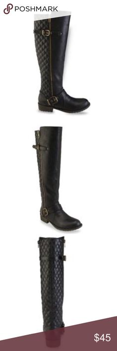 Black Quilted Riding Boots Black quilted riding boots size 7.  Height about 17 inches. Shoes Winter & Rain Boots