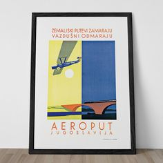 AVIATION Poster YUGOSLAVIA BALKANS High Quality Giclee Print Art Deco Poster Travel Poster Travel Ad Frame-Ready Ikea Ribba Size