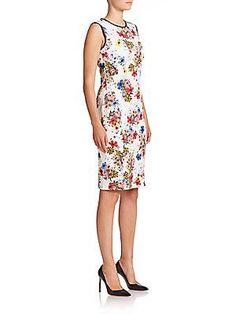 9d5c54fcb6c B4T8V Escada Cap-Sleeve Polka-Dot Linen Dress