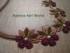 Aari embroidery classes - basic and advanced level in Villivakkam . Embroidery Purse, Hand Work Embroidery, Beaded Embroidery, Embroidery Designs, White Blouse Designs, Silk Saree Blouse Designs, Bridal Blouse Designs, Blouse Models, Work Blouse