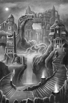 """""""The Nameless City"""" from Cthulhu: The Great Old One Card Game by Dann Kriss Games, artwork by Ian Daniels © 2013 - on Kickstarter now!"""