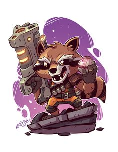 Here is the final Chibi Rocket. I should have prints available in the next few weeks in my shop. Here is the final Chibi Rocket. I should have prints available in the next few weeks in my shop. Chibi Marvel, Marvel Art, Marvel Heroes, Marvel Avengers, Chibi Superhero, Marvel Drawings, Cartoon Drawings, Cartoon Art, Comic Kunst