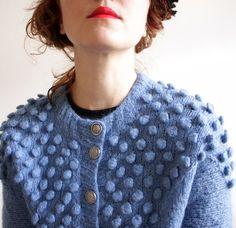 Vintage handknit blue bubble Cardigan Sweater (L)