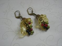 Pyrex flower earrings on brass leverbacks with czech glass dangles.