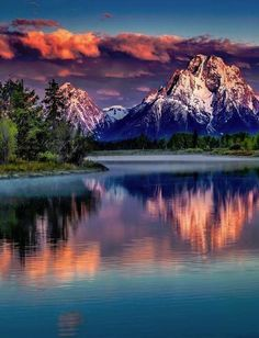 Mount Moran Sunrise [Mount Moran is a mountain in Grand Teton National Park of western Wyoming, USA. The mountain is named for Thomas Moran, an American western frontier landscape artist.] sunset scene, pink and purple clouds Grand Teton National Park, National Parks, Pretty Pictures, Cool Photos, Best Nature Photos, Beautiful Nature Photos, Pics Of Nature, Nature Images, Amazing Photos