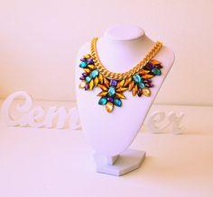 Gold Rhinestone Gem Crystal Statement Necklace by GemsOver on Etsy