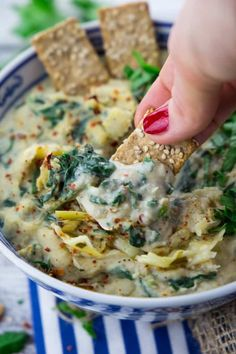 Vegan Spinach Dip with Artichokes - Super Creamy!