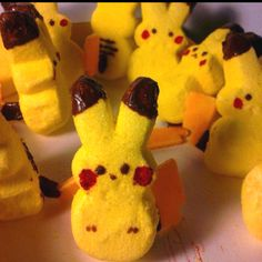 This Pokemon peep is pretty cool - and would be a fun activity for Easter with the boys /bakertrilogy/ Pokemon Party, Pokemon Birthday, Pokemon Snacks, Pokemon Ring, Pokemon Stuff, Boy Birthday, Birthday Parties, Birthday Ideas, Themed Parties