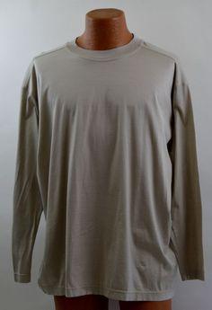 Carroll & Co Men's 58 Tall Tan Cotton Long Sleeve T Shirt Ex Used #CarrollCo #BasicTee