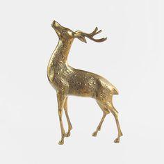 Huge Vintage Solid Brass Deer Stag - reindeer horns animal statue figurine large red standing hunting gold coloured folk roe male ornament