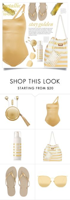 """""""stay golden"""" by mmk2k ❤ liked on Polyvore featuring The Macbeth Collection, Calvin Klein, James Read, Sun N' Sand, Havaianas, Linda Farrow, Summer, swimwear, metallic and swimsuit"""