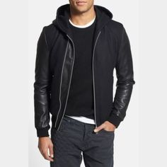 Calvin Klein Wool/Faux leather Moto Jacket (Men) Dress up that special someone in your life with this edgy Moto jacket! With a body made of warm wool, this winter-ready jacket boasts faux leather sleeves, accents, and zipper details  Ribbed wool sleeve edges keep the wind from stealing inside, keeping you toasty warm! ☺️ Literally worn once for a plane ride but ended up being a tad too small! Our loss is your gain! Calvin Klein Jackets & Coats
