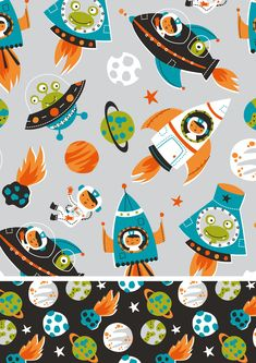 Inga Wilmink for Jo-Ann Stores - Space fabric i like these colors a lot Kids Patterns, Textures Patterns, Fabric Patterns, Print Patterns, Illustration Art Nouveau, Illustration Art Drawing, Art Drawings, Quirky Art, Weird Art