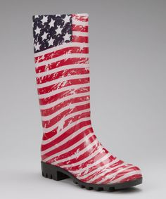 Take a look at this Red American Flag Rain Boot - Women by Capelli New York on #zulily today!