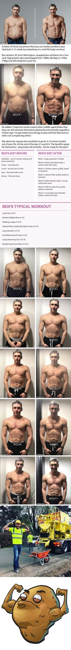 Father of three 45 reveals the results of his incredible 12 week transformation Yoga Fitness, Training Fitness, Fitness Workouts, Fitness Motivation, Health Fitness, Muscle Fitness, Fitness Diet, Muscle Nutrition, Fitness Band