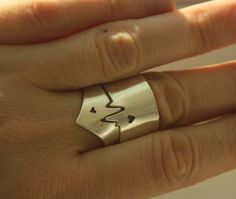 TWO HEARTs ONE BEAT Cardiogram rings for two or one by NOjewelry, $115.00 .......i love this! want this!