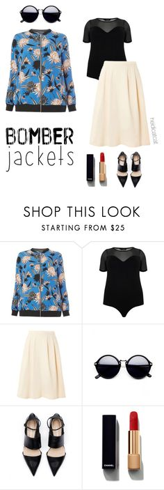 """""""Summer Bomber Jacket (Plus)"""" by heidicatcat ❤ liked on Polyvore featuring Dorothy Perkins and Chanel"""