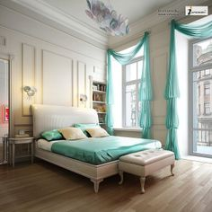 Aqua Chiffon Bedroom with moulding, mirror, clamp chandelier, and awesome high ceiling