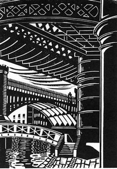 Castlefields, Manchester, Linocut by Eric Gaskell