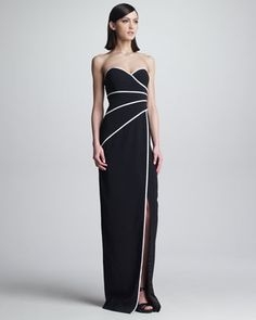 Strapless Piped Sweetheart Gown by David Meister at Neiman Marcus. If you like this better I can order before Wednesday (extra 25%) off. Let me know which you like the best.  XOXO Lana