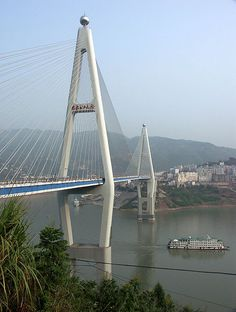 So surprised to find this on Pinterest! We actually went under this bridge on our ship during our trip to China. Then, we traveled ON it by bus on our way to a land excursion! Badong Yangtze River Bridge - HighestBridges.com