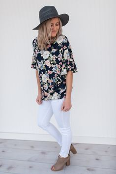 This top is gorgeous! Does it get any better than floral and bell sleeves?     Sizing:      Small 0-4  Medium 6-8  Large 10-12         Shop this product here: http://spreesy.com/pinkpineappleclothingcompany/220   Shop all of our products at http://spreesy.com/pinkpineappleclothingcompany      Pinterest selling powered by Spreesy.com