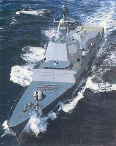 Face on view of a F100 Alvaro de Bazan Multi-Purpose Frigate. The 150km² air defence frigate, the F100, was commissioned into the Spanish Navy in September 2002.