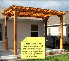 Pergola For Car Parking Diy Pergola, Wood Pergola Kits, Cedar Pergola, Building A Pergola, Pergola Curtains, Small Pergola, Pergola Attached To House, Pergola With Roof, Flowers