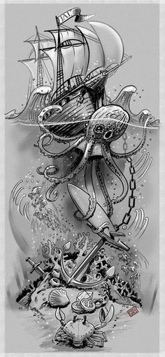 39 Ideas Tattoo Sleeve Ocean Octopuses For 2019 Related Octopus Tattoo Designs that are worth every pennyhairstyles for long hair videos Sexy Tattoos, Trendy Tattoos, Tattoos For Guys, Tattos, Octopus Tattoos, Mermaid Tattoos, Tribal Tattoos, Nautical Tattoos, Nautical Tattoo Sleeve