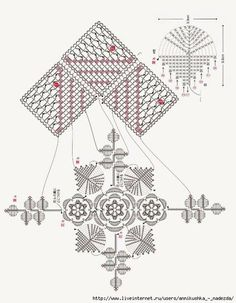 ergahandmade: Lace crochet square with flower + diagrams