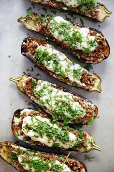 Loaded Grilled Eggplant Creamy Herb Sauce {Vegetarian, dairy-free, BBQ, Summer, gluten-free, paleo-friendly} | Lexi's Clean Kitchen