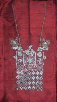 Dev Bead Embroidery Patterns, Tambour Embroidery, Hand Work Embroidery, Hand Embroidery Designs, Embroidery Dress, Embroidery Stitches, Machine Embroidery, Kutch Work, Kurta Designs