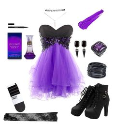 """""""electric violet"""" by tigerwidwe ❤ liked on Polyvore featuring H&M, N°21, ABS by Allen Schwartz, Wet Seal and Stila"""