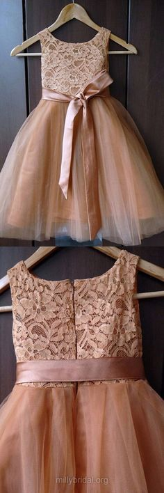 New Style Flower Girl Dresses, A-line Holiday Dresses, Scoop Neck Lace Girls Party Dresses, Tulle Ankle-length Communion Dresses