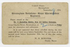 Postcard for Birmingham Battalion recruitment station at the Museum & Art Gallery