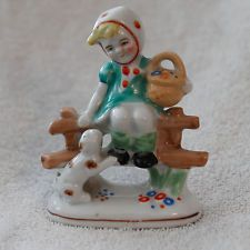 4 inch  Porcelain Girl sitting on Fence With Dog