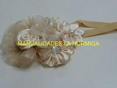Tiara de bautizo color Perla, Baby Headbands, Como hacer Flores Tutorial - YouTube