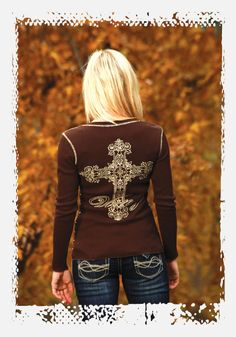 http://www.ropesandrhinestones.com Cowgirl Tuff Victory Cross brown studded thermal shirt from Ropes & Rhinestones.