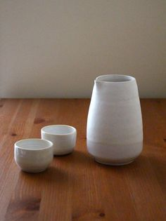 Ceramic porcelain carafe with cups, sake set, clay, organic form / ready to ship