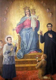 Maria Auxiliadora y Don Bosco y Santo Domingo Savio.