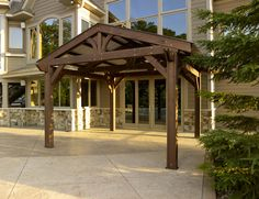The Lodge Pergola brings mountain living right to your own backyard! Quality pergola construction evokes the stately lodges from a bygone era. Diy Pergola, Wood Pergola Kits, Building A Pergola, Pergola Canopy, Metal Pergola, Deck With Pergola, Outdoor Pergola, Pergola Lighting, Cheap Pergola