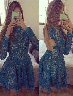 Blue Prom Dress,Lace Appliques Homecoming Dress,High Neck Prom Dress,Homecoming…