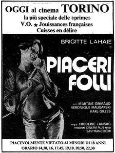 """Piaceri folli"" (Suprêmes jouissances, 1963) di Frédéric Lansac (Claude Mulot), con Brigitte Lahaie e Martine Grimaud. Italian release: April 23, 1980 #MoviePosters"
