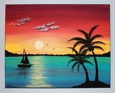 Summer painting, painting tips, beach sunset painting, original paintings, Simple Acrylic Paintings, Easy Paintings, Acrylic Painting Canvas, Canvas Art, Canvas Ideas, Beach Canvas Paintings, Sunset Paintings, Original Paintings, Palm Tree Sunset