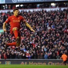 4c966872c Steven Gerrard celebrates scoring his penalty in front of The Kip.
