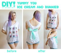 Tutorial: No-Sew Tank with Yummy You! Here's the second of two DIYs I did with Yummy You's super comfy Ice Cream and Sunnies Tee! A really simple, nifty trick if you want to make a more form-fitted. Diy Clothing, Sewing Clothes, Cut Clothes, Clothes Refashion, Shirt Refashion, Diy For Girls, Shirts For Girls, No Sew Tank, Do It Yourself Fashion