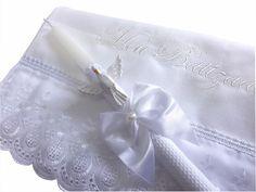 Vela decorada com toalha de batizado