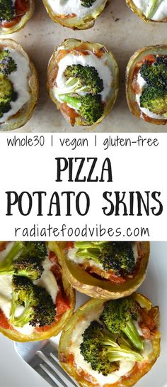 Delicious and healthy Pizza Potato Skins are vegetarian, vegan and gluten-free. This is also an easy Whole30 recipe and the perfect healthy dinner and appetizer for the Whole30 challenge or a clean eating lifestyle.