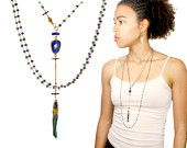 Holiday Sale!  Sept. birthstone Wrappable necklace. Lapis lazuli, iolite and peacock blue quartz point. wh  pendant.. Indigo MimsyB.