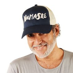 Namaste - Comfortable Fashion Trucker Cap Made of Organic Cotton- Recycled polyester certified organic cotton, recycled polyester. Mesh Cap, Private Label, Snap Backs, Comfortable Fashion, Ethical Fashion, Namaste, Organic Cotton, Baseball Hats, Unisex